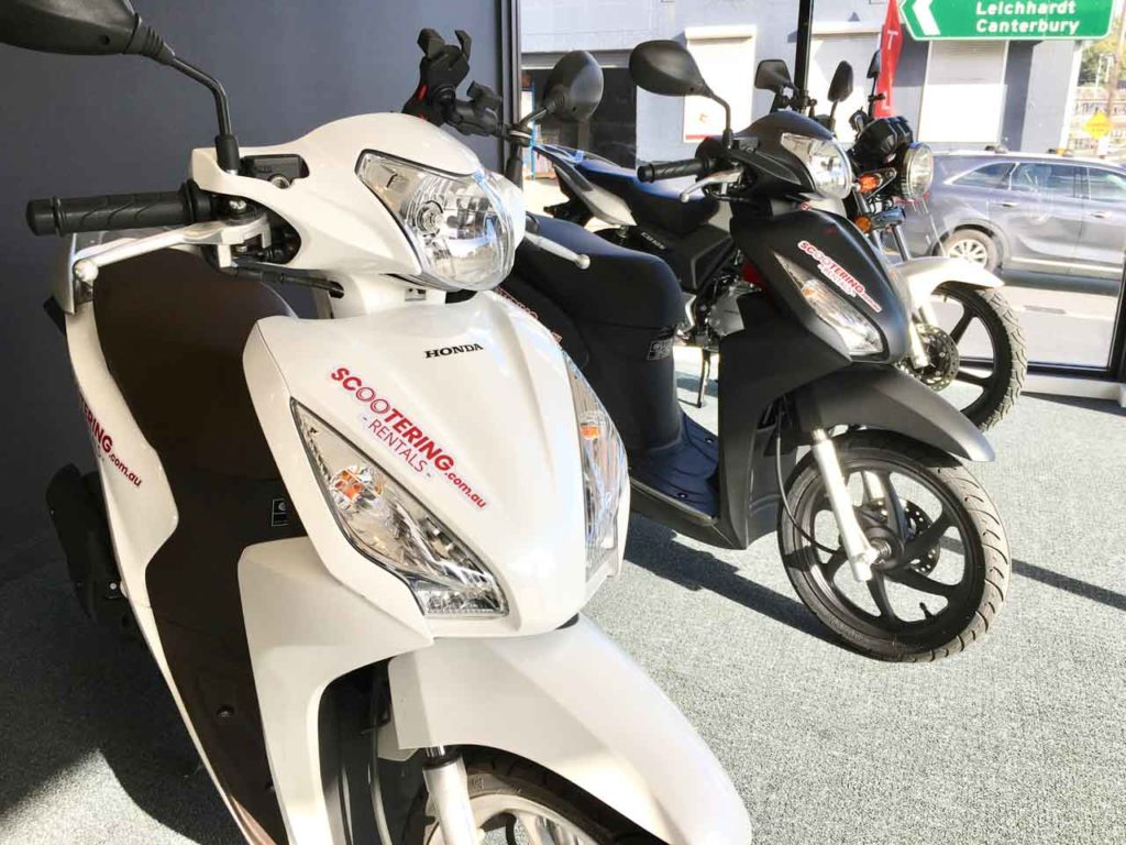 Honda NSC110 Dio, SH150 or CB125E scooters, motorbike or motorcycles for rent in Sydney from Scootering in Leichardt