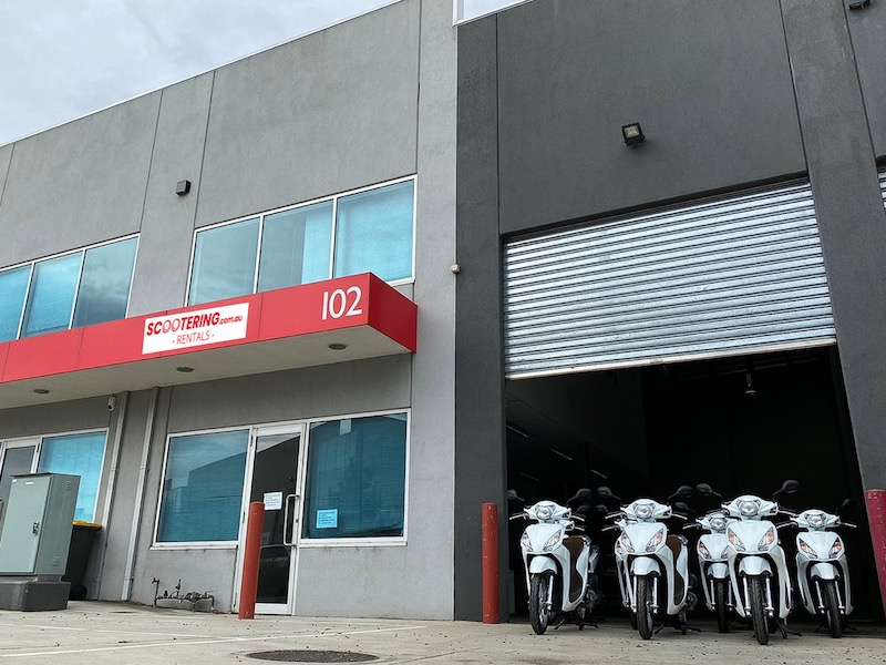 Scootering Melbourne Office in Kensington Victoria with rental scooters